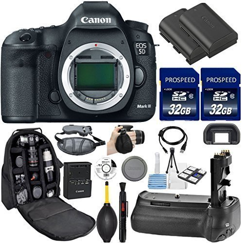 Canon EOS 5D Mark III DSLR Camera (Body Only). Kit Includes, 2Pcs 32GB Commander MemoryCard + Battery Grip + Extra Battery + Backpack Case + Grip Strap + Air Blower + Cleaning Kit