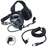 Rugged Radios H41-CF Carbon Fiber Style Behind The Head Two Way Radio Headset with CC-MOT Coil Cord Cable for Motorola 2-Pin Radios (Color: Carbon Fiber)