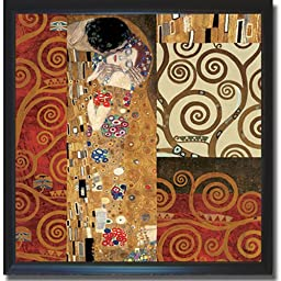 Klimt Montage by Gustave Klimt Satin-Black Framed Canvas (Ready-to-Hang)
