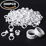 INFILILA 300 Pack Adhesive Rings Disposable Ring Cups For Glue Eyelash Extension Tattoo Nail Art With 2 Rolls Medical Tape Disposable Pigment Ink Rings Glue Holders