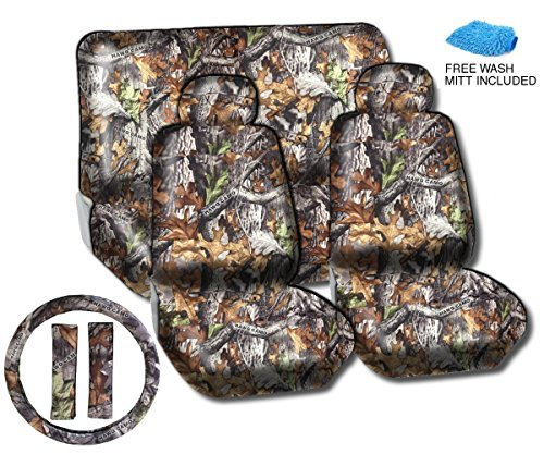 Hawg Camo Surreal Forest Grey Seat Cover Set - Front Rear Headrests Steering Wheel Cover & Seat Belt Pads Camouflage - Premium Padded Auto Car Truck Interior Set + Free Bonus Wash Mitt front-968563