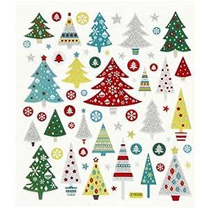 Set Sticker / Aufkleber - Weihnachtsbaum mit Glitzer Weihnachten Winter Schnee Geschenke