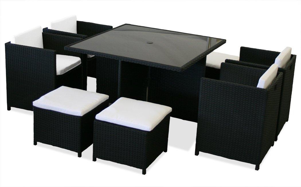 KMH®, 9-teilige Polyrattan Sitzgruppe schwarz (inklusive Auflagen und Kissen) (#106114)