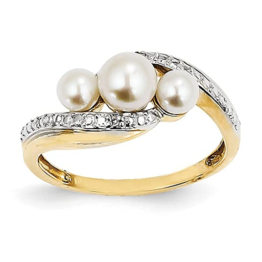 14ct Gold Rough Diamond and Freshwater Cultured Pearl Ring