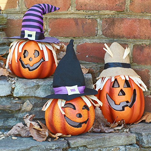 Prextex Set Three Happy Halloween Light up Jacko Lantern Decorative Pumpkin Foam Halloween Props Great Haunted House Halloween Decoration