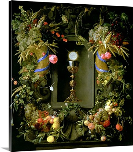 Communion cup and host, encircled with a garland of fruit Gallery-Wrapped Canvas