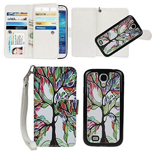 Galaxy S4 Case, xhorizon TM Tree and Leaf [Magnetic Detachable] Premium PU Leather Wallet Wrist Strap Purse Flip Book Style 9 Card Slots Folio Stand Protective Case Cover for Samsung Galaxy S4 (Samsung Spigen Case S4 Mini compare prices)