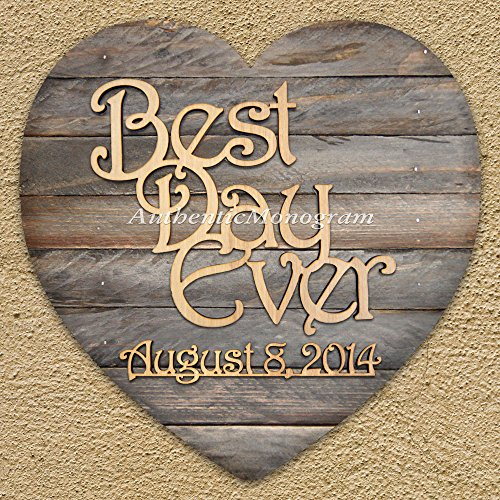 "Best Day Ever & Date To Remember - Wooden Monogram Mounted On Hart Shape Board, Home Decor, Wedding Decor, Initial Monogram. (12"")"