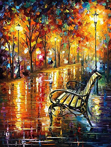 Rocking Chair In The Park-Palette Knife Landscape Oil Painting On Canvas Wall Art Deco Home Decoration (Unstretch No Frame) front-903689