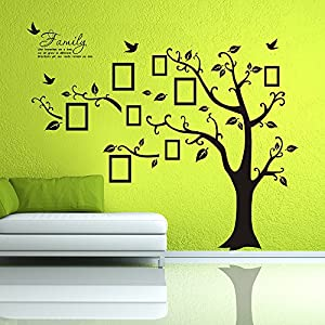 Newisland® Family Tree Frame Wall Decor Removable Wall Stickers (Black, Large Left)
