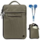 SumacLife Silver Grey Premium Protective Nylon Sleeve Carrying Case with Handle for Newest 2011 Amazon Kindle and Kindle Touch 3G 6-inch e-Ink Display e-Reader (Fits all 2011 Kindle e-Reader) + Blue Stereo Earphones with 3.5mm Headphone Jack