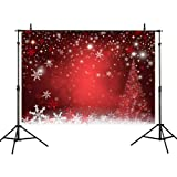 Allenjoy 10X6.5ft Polyester Winter Red and Christmas Tree Background for Photography Snowflake Bokeh Photo Backdrop Studio Props Christmas Party Decorations … (Color: style08, Tamaño: 10ft by 6.5ft polyester)