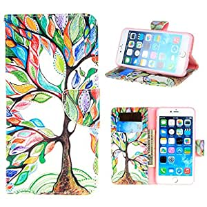 MINILUJIA for iPhone 6S Plus Green Tree For iPhone 6 Plus 5.5 Wallet Case Premium Soft TPU Synthetic Leather Wallet Cover Case