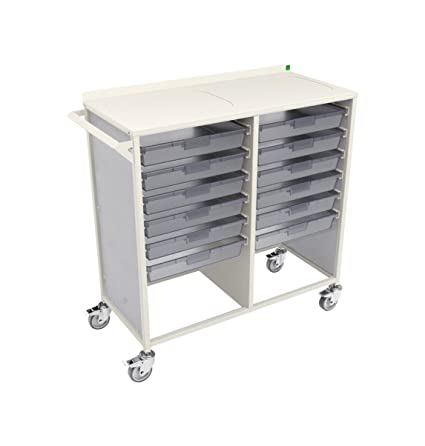 Bott Healthcare Double Width Complete Trolley with 12 Trays, Metal, White