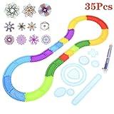 AOWA 35Pcs Creative Transparent ABS Magic Ruler Drawing Set, DIY Pathway Drawing Tools, Drawing Curve Template Rulers for Kids School Accessories (Tamaño: B)