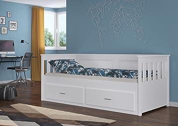 Kinderbett / Jugendbett Samiro 1 weiß lackiert - Liegefläche 90 x 200 cm