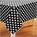 Unique Industries, Inc. - Black and White Dots Plastic Tablecover