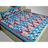 Double Bed Sheet Cotton Blue Printed Floral 90 X 105 In Flat Sheet CERE516