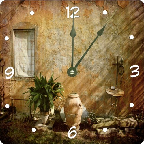 "Rikki Knighttm Country Garden Tuscany With Plant Design 6"" Art Desk Clock front-640151"