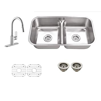 All-in-One Undermount Stainless Steel 30-1/4 in. 0-Hole Double Bowl Kitchen Sink with Faucet