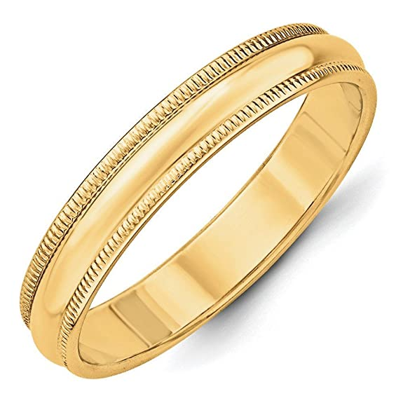 14ct Gold 4mm Milgrain Half-Round Size T 1/2 Wedding Band Ring