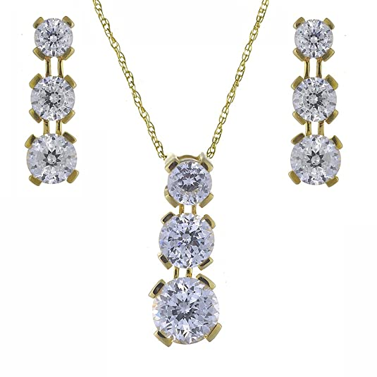 Ivy Gems 9ct Yellow Gold 3ct Finest 100 Cut Cubic Zirconia Triple Drop Earrings and Pendant Set with Chain