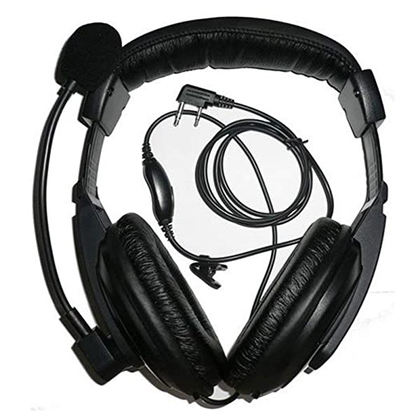 abcGoodefg Professional Noise Cancelling Overhead Headsets Headphones with Boom Mic for 2 Pin Kenwood Baofeng Retevis H777 H-777S RT21 RT22 RT5R RD5R UV5R UV5RA 888S 777S UV82HP UV5X3 Puxing Wouxun