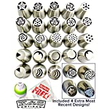 Russian Piping Tips Set 48PCS/SET(27 Nozzles+20 Pastry Bags+Coupler) 304 Stainless EXTRA LARGE DELUXE Nozzle Kit for Icing Cupcake Be like a PRO in Cake Decorations
