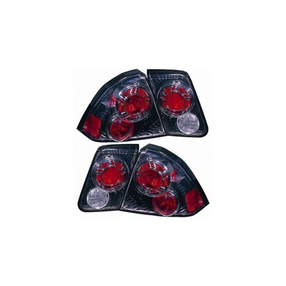 Honda Civic Sedan Replacement Tail Light Assembly (Inner and Outer, Gun Metal)   1 Pair