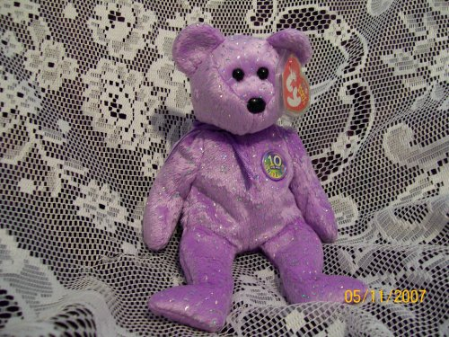 TY Beanie Baby - DECADE the Bear (Purple Version) - 1