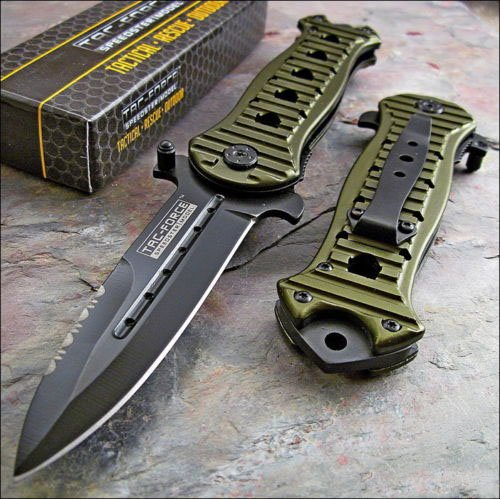 Tac-Force Assisted Opening Spear Point Grooved Green Aluminum Handles Knife New!