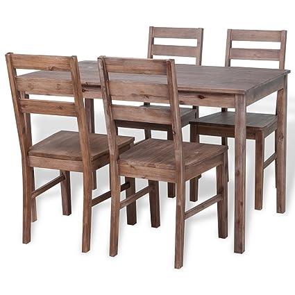 vidaXL–Conjunto de sala de cena cinco piezas mesa y sillas madera de acacia