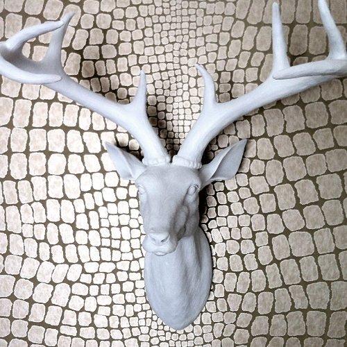 Large White Resin Stag Deer Head