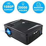Portable Mini Projector Full HD, Neefeaer Video Projector Multimedia LCD Home Theater Projector Support 1080P HDMI USB SD Card VGA AV TV Laptop iPad Smartphone for Home Entertainment Games (Color: Black)
