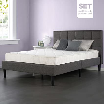 Sleep Master iCoil 8 Inch Classic Spring Mattress and Upholstered Square Stitched Platform Bed Set, Queen