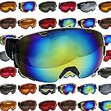 DABADA(ダバダ) ゴーグル スノーゴーグル 全30種類 フレームレス 男女兼用  ダブルレンズ メガネ使用可能 専用ハードケース付 くもり止め加工 UVカット