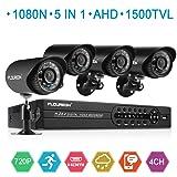 FLOUREON House Security Camera System 1080N DVR + 4 Pack 1.0MP CMOS Lens CCTV Security Camera 1500TVL Night Vision Remote Access Motion Detection (4CH+ 4X 1500TVL Camera) (Color: 4CH+ 4X 1500TVL Camera)