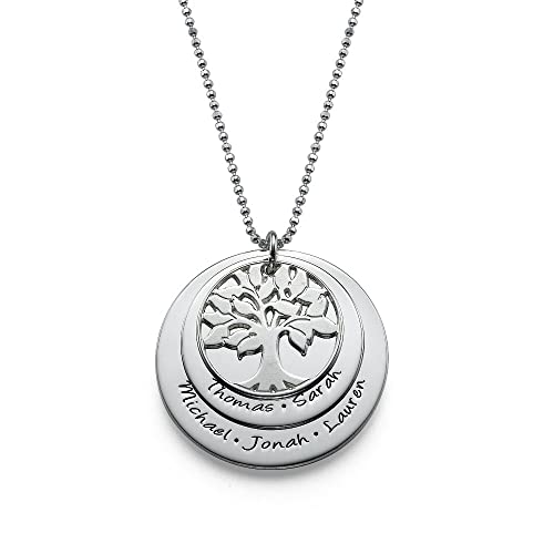 Mother's Day Special – Layered Family Tree Necklace – Custom Made with Any Name! (Sterling Silver, 20 Inches)