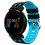Waterproof Fitness Tracker - Hathcack Ai03 Super Long Standby Activity Monitor and Sleeping Management Heart Rate Monitor Pedometer SMS Calls Reminder Bluetooth Smart Wristband for IOS/Android - blue