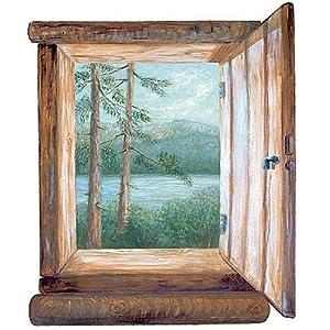 Wallies 13441 cabin window wallpaper mural wall murals for Amazon mural wallpaper