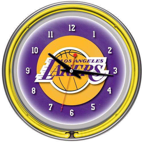 Los Angeles Lakers NBA Chrome Double Ring Neon Clock, 14-Inch, Yellow