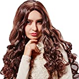 Hsg New High Quality Sexy Long Dark Brown Curly Wavy Full Hair Wigs For Woman Tf1118