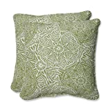 Pillow Perfect Throw Pillow with Bella-Dura Makayla Lime Fabric, 18.5-Inch, Set of 2