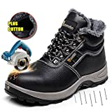 AiChuang Winter Safety Shoes For Men Safety Boots Steel Toe Cap (10, Black)