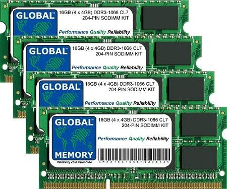 16Go (4 x 4Go) DDR3 1066MHz PC3-8500 204-PIN SODIMM MÉMOIRE RAM KIT POUR INTEL IMAC (FIN 2009)