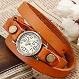 Ailisha Bronze Lady Wrap Bracelet Bangle Orange Leather Quartz Wrist Watch WAA385