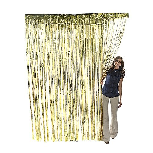 Metallic Gold Foil Fringe Shiny Curtains for Party, Prom, Birthday, Event Decorations 3 ft x 8 ft (1 Curtain) by Super Z Outlet (Gold Streamer Backdrop compare prices)