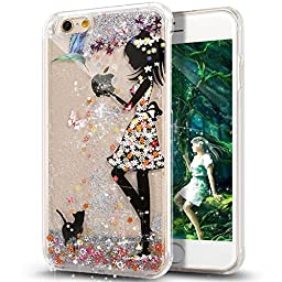 iPhone SE Case,iPhone 5S Case,ikasus [Slim Fit] Butterfly Flower [Faery Angel Girls] Printing Flowing Liquid Floating Bling Glitter Sparkle Stars Hard Case for Apple iPhone SE & iPhone 5S 5, Faery #2