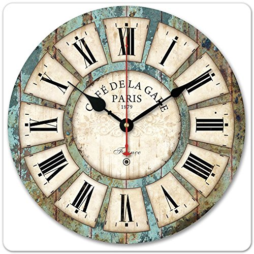 "12"" Vintage Roman Numeral Design France Paris Rusted Metal Look French Country Tuscan Style Paris Wood Wall Clock"