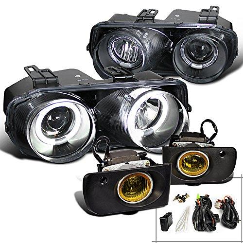 Acura Integra Rs Ls Gs Black Halo Projector Headlights, Yellow Fog Lights (Halo Headlights Integra compare prices)